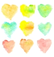 Watercolor heart shaped stains isolated on white vector image