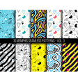 10 universal different geometric memphis seamless vector image vector image