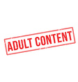 Adult Content red rubber stamp on white vector image vector image