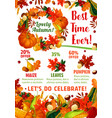 autumn season sale promotion poster template vector image vector image