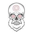 Bearded skull with hypnotic glasses Crazy vector image