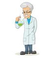 cartoon a professor holding a lab tube vector image