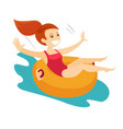Caucasian white woman having fun in waterpark vector image