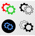 cogs eps icon with contour version vector image vector image
