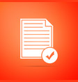 document and check mark icon on orange background vector image
