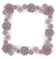 doodle square floral frame for girls vector image vector image