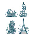 european attractionsparis eiffel tower vector image vector image