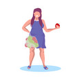 fat obese girl holding apple fruit sad unhappy vector image