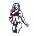 fitness bikini woman or girl figure silhouette in vector image