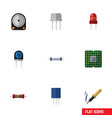 flat icon technology set of unit resistor vector image vector image