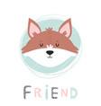 fox hand drawn face character vector image vector image