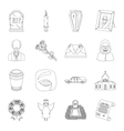 Funeral ceremony set icons in outline style Big vector image vector image