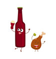 funny beer bottle and fried chicken leg characters vector image vector image