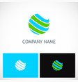 globe sphere colored planet logo vector image