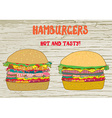Hamburgers set - on the wood texture vector image vector image