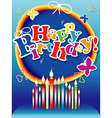 Happy birthday background or card with candles vector image vector image