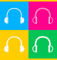 headphones sign four styles of icon vector image vector image