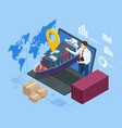 isometric logistics and delivery sea freight vector image