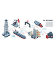 isometric oil refinery infographics vector image vector image