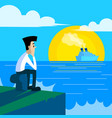 lonely man sitting on the pier vector image vector image