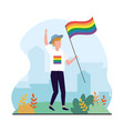 man with rainbow flag to lgbt celebration vector image vector image