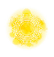 mandala over yellow watercolor fog background vector image vector image