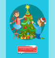 merry christmas boy girl decorate new year tree vector image vector image