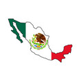 mexican flag map silhouette vector image vector image