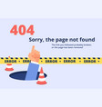 not found concept 404 error page design with hand vector image vector image