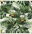 palm leaves and exotic orchid flowers vector image vector image