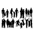 parent and children happy family silhouettes vector image vector image