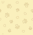 paw prints and hearts on beige seamless pattern vector image vector image