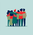 people friend group hug in winter holiday clothes vector image vector image