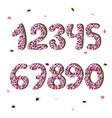 pink confetty doodle numbers font vector image