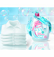 realistic promo banner of washing powder vector image vector image