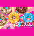 set colorful glazed donuts for ads sweet vector image