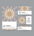 set of cards with hand drawn mandala vector image vector image