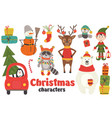 set of isolated christmas characters part 2 vector image vector image
