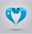somalian flag heart-shaped ribbon vector image vector image