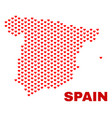 spain map - mosaic of lovely hearts vector image vector image