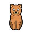 striped cat cartoon pet icon image vector image