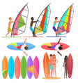 surfer people collection surfboards top vector image