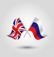 two crossed british and russian flags vector image vector image