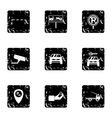 Valet parking icons set grunge style vector image vector image