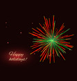 vibrant red green fireworks background copy space vector image