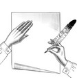 womans hand with a feather pen vector image vector image