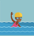 young african-american sportswoman swimming vector image vector image