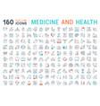 set flat line icons medecine and health vector image