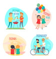 friends forever friendship day set vector image
