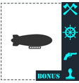 Airship zeppelin icon flat